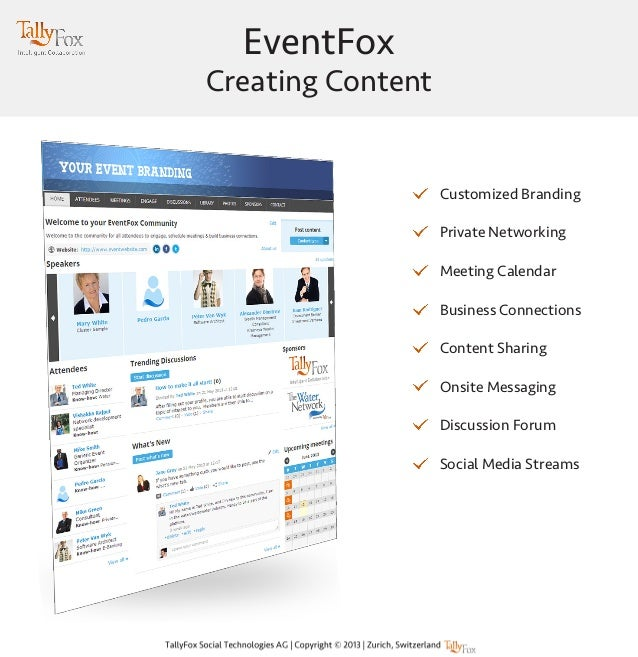 EventFox Creating Content Customized Branding Private Networking Meeting Calendar Business Connections Content Sharing Ons...