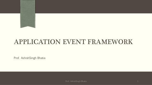 APPLICATION EVENT FRAMEWORKProf. AshishSingh Bhatia1Prof. AshishSingh Bhatia