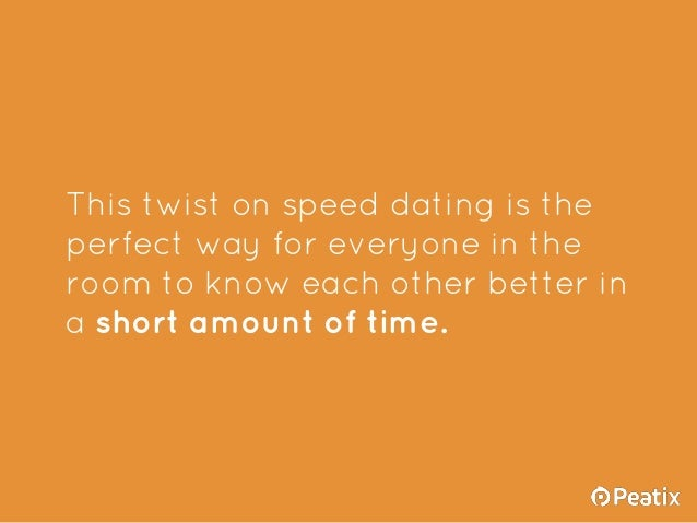 speed dating event ideas