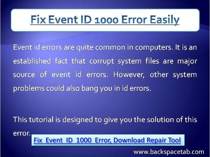 Fix Event ID 1000 Error, Download Repair Tool