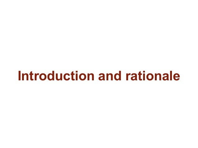 Introduction and rationale