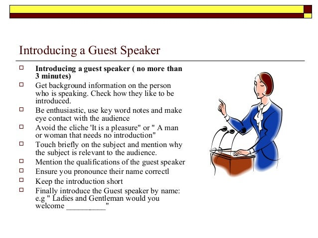 Event management for Template for introducing a speaker