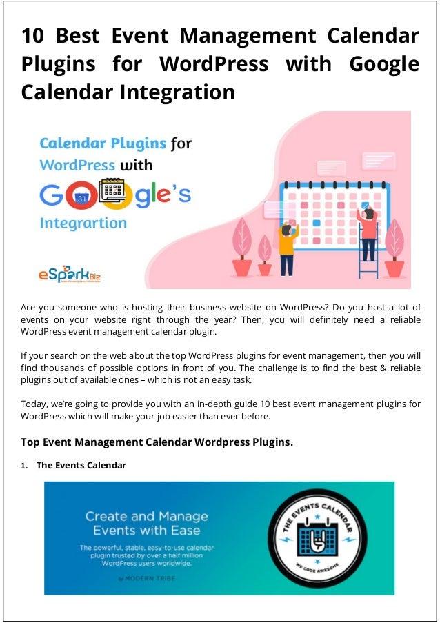 Event Management Calendar Plugins for WordPress with Google