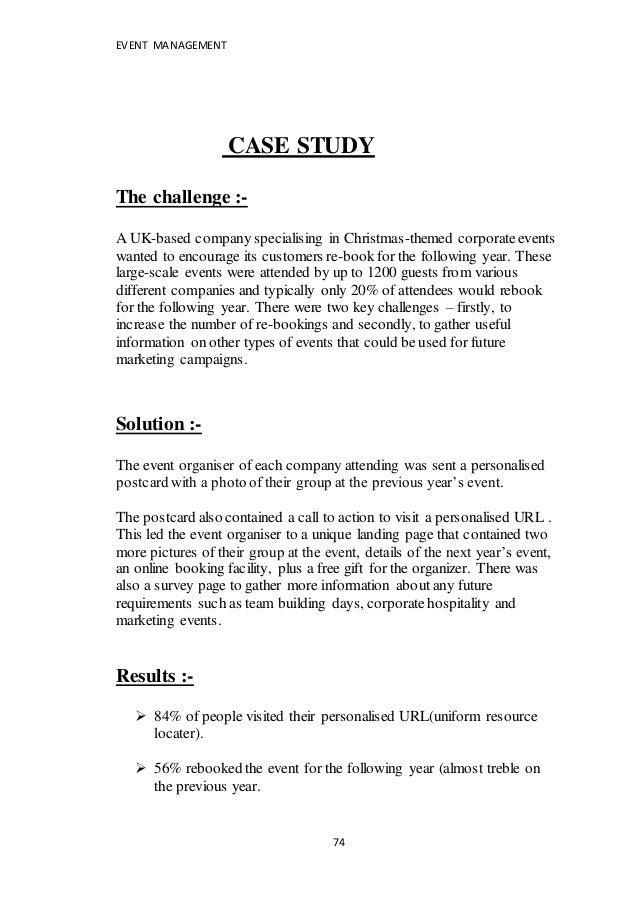 Feasibility study report on event management
