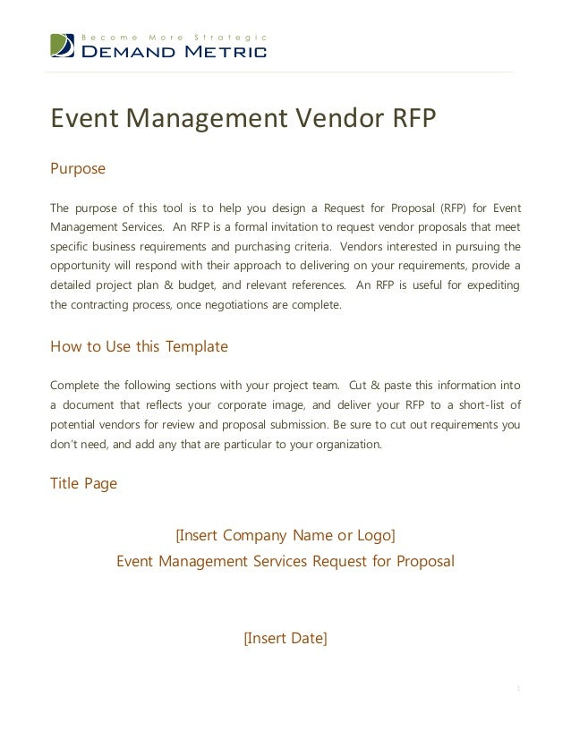 Event Management Vendor RFPPurposeThe Purpose Of This Tool Is To Help You  Design A Request For ...  Events Proposal Sample
