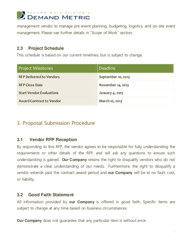 Event Contract Templates Event Management Rfp Template Sample