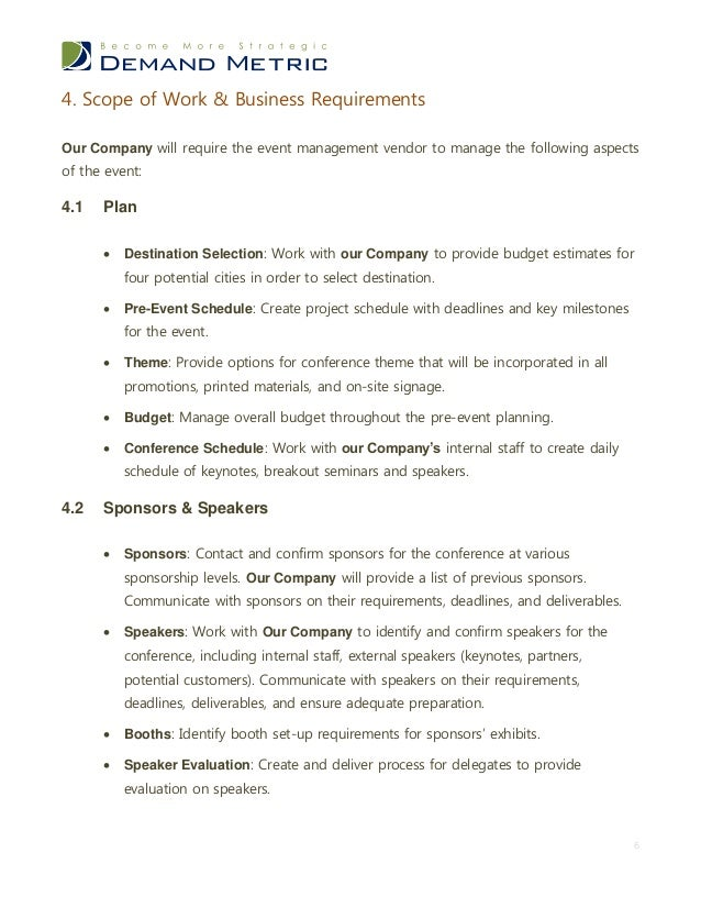 Event management rfp template for Marketing scope of work template