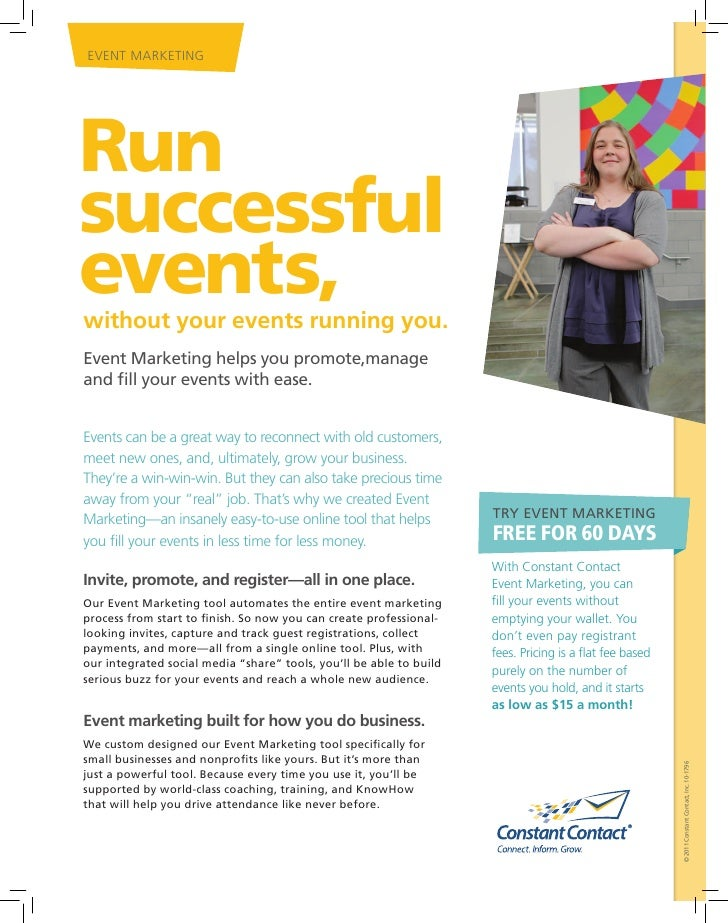 EVENT MARKETINGRunsuccessfulevents,without your events running you.Event Marketing helps you promote,manageand fill your e...