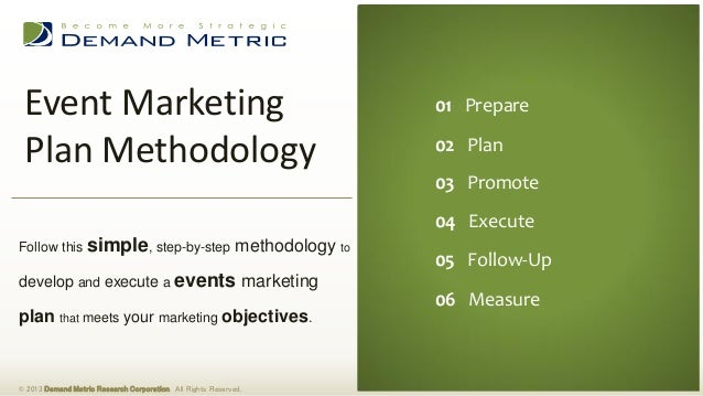 Event MarketingPlan Methodology© 2013 Demand Metric Research Corporation. All Rights Reserved.Follow this simple, step-by-...