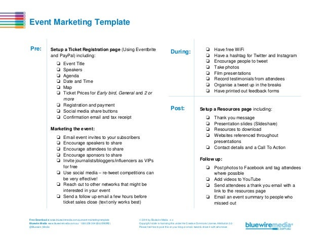 Event Marketing Template Pre:  Setup a Ticket Registration page (Using Eventbrite and PayPal) including:  During:  ❏ ❏ ❏ ❏...