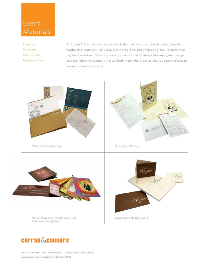 Event  Materials  Programs                            At Curran & Connors, our perspective is that the design and producti...
