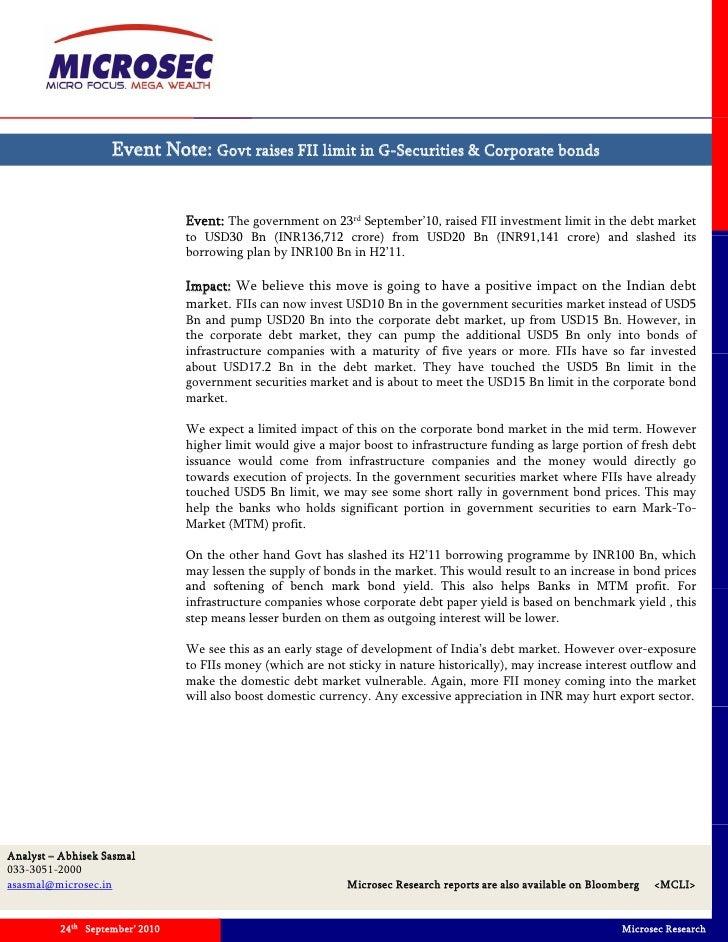 Event Note: Govt raises FII limit in G-Securities & Corporate bonds                                   Event: The governmen...