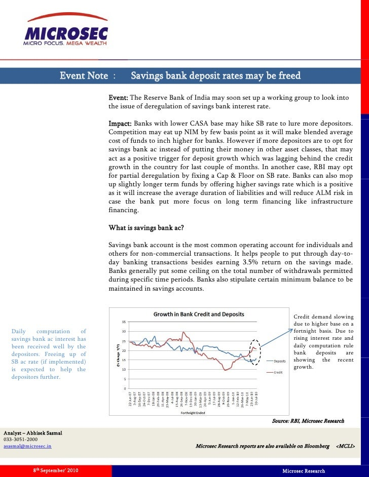 Event Note   Proposal On Freeing Savings Bank Rate