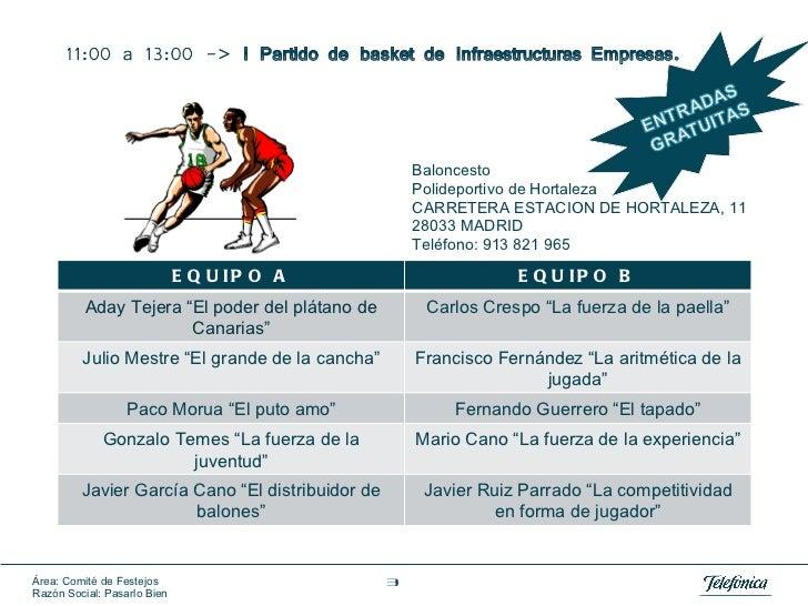 Baloncesto Polideportivo de Hortaleza CARRETERA ESTACION DE HORTALEZA, 11  28033 MADRID  Teléfono: 913 821 965 EQUIPO A EQ...