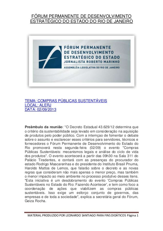 MATERIAL PRODUZIDO POR LEONARDO SANTIAGO PARA FINS DIDÁTICOS Página 1 FÓRUM PERMANENTE DE DESENVOLVIMENTO ESTRATÉGICO DO E...