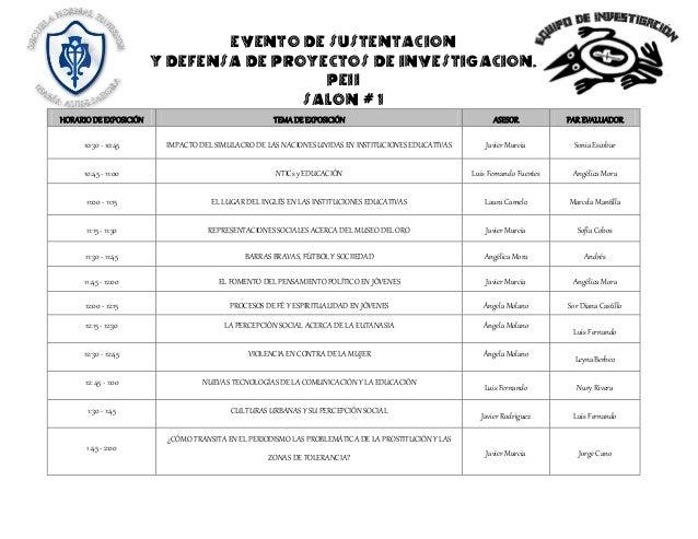 EVENTO DE SUSTENTACION  Y DEFENSA DE PROYECTOS DE INVESTIGACION.  PEII  SALON # 1 HORARIO DE EXPOSICIÓN TEMA DE EXPOSICIÓN...
