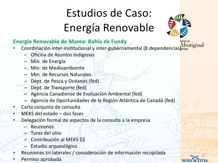 Estudios de Caso:                      Energía RenovableEnergía Renovable de Marea: Bahía de Fundy•   Coordinación inter-i...