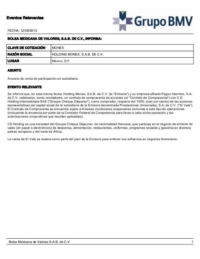 FECHA: 12/09/2013 Eventos Relevantes BOLSA MEXICANA DE VALORES, S.A.B. DE C.V., INFORMA: CLAVE DE COTIZACIÓN RAZÓN SOCIAL ...