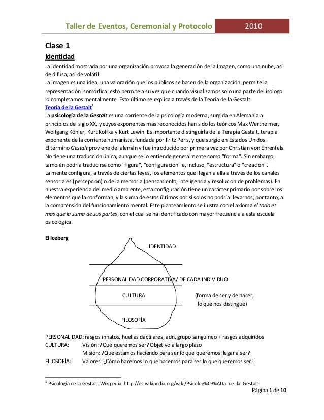 Taller de Eventos, Ceremonial y Protocolo 2010Página 1 de 10Clase 1IdentidadLa identidad mostrada por una organización pro...