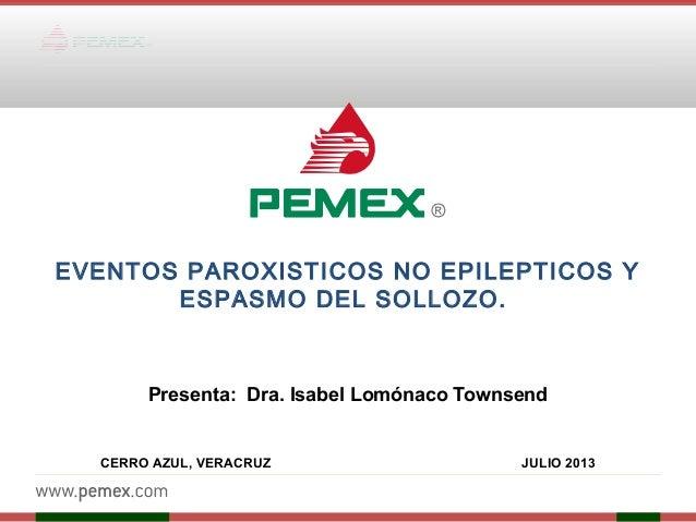EVENTOS PAROXISTICOS NO EPILEPTICOS Y ESPASMO DEL SOLLOZO. Presenta: Dra. Isabel Lomónaco Townsend  CERRO AZUL, VERACRUZ ...