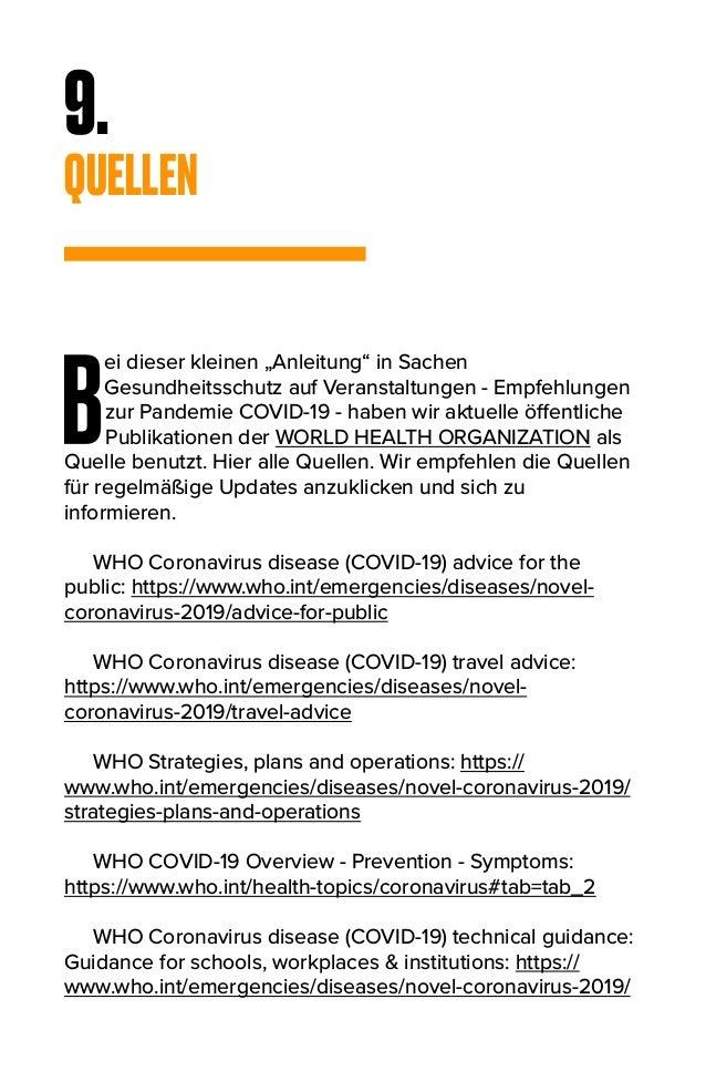 """9. QUELLEN B ei dieser kleinen """"Anleitung"""" in Sachen Gesundheitsschutz auf Veranstaltungen - Empfehlungen zur Pandemie COV..."""