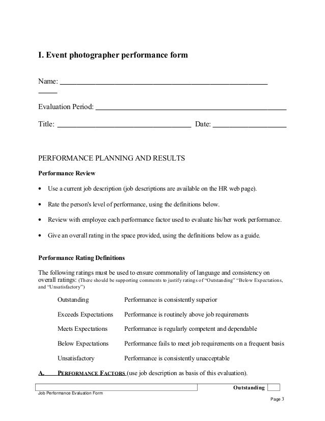 Event photographer performance appraisal