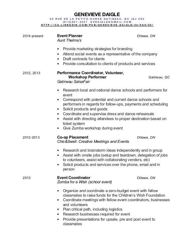 Event Coordinator Resume Event Planner Resume Event Planner