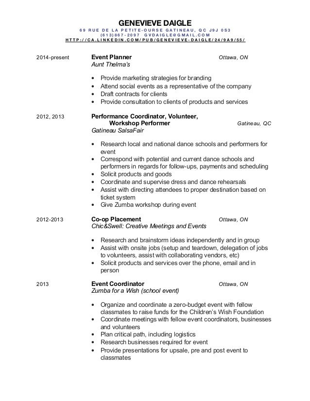 Event Planner Resume And Academic Background And Home Design