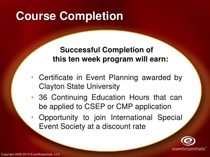 Event Planning Certificate Program Fall