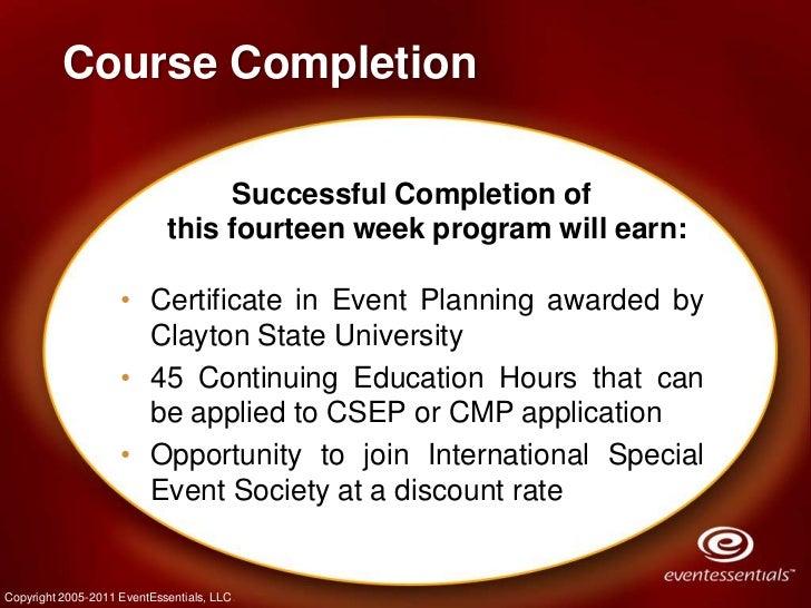 Fall 2011 - Event Planning Certificate Program