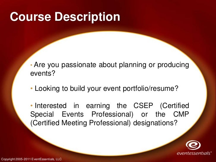 Fall 2011 - Event Planning Certificate Program