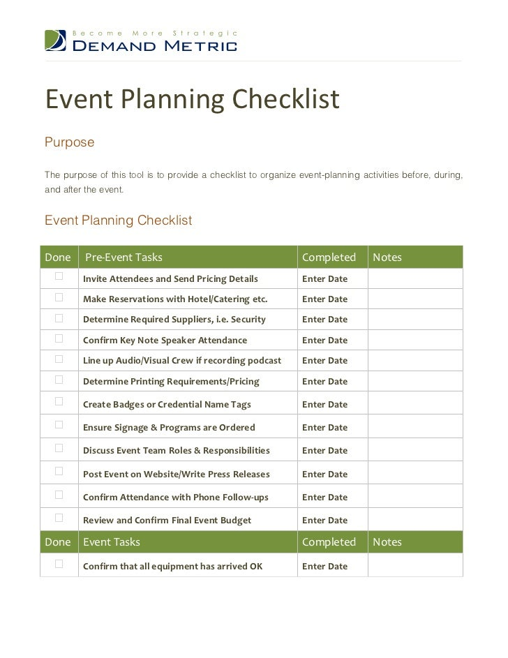 Event Planning ChecklistPurposeThe Purpose Of This Tool Is To Provide A  Checklist To Organize Event  ...