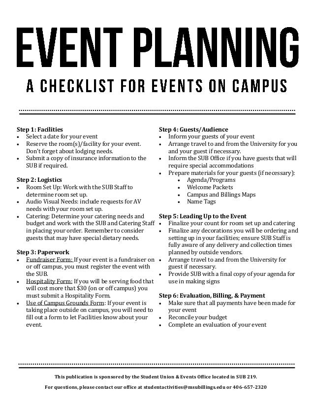 Event Planning Checklist. This Publication Is Sponsored By The Student  Union U0026 Events Office Located In SUB 219.