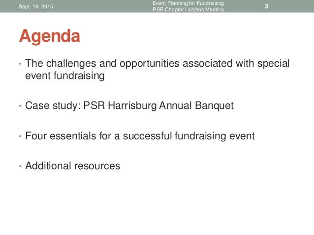 Event planning for fundraising PSR Chapter Leaders Meeting, Sept. 1…