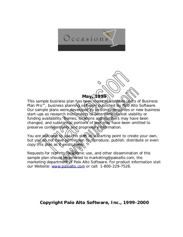May, 1999 This sample business plan has been made available to users of Business Plan Pro™, business planning software pub...