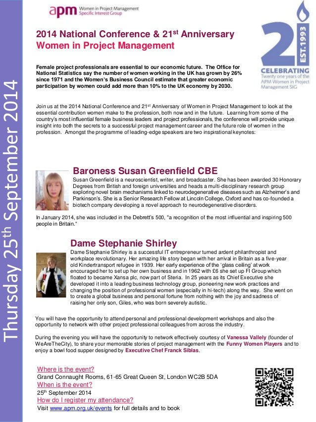 Thursday25thSeptember2014 2014 National Conference & 21st Anniversary Women in Project Management Where is the event? Gran...