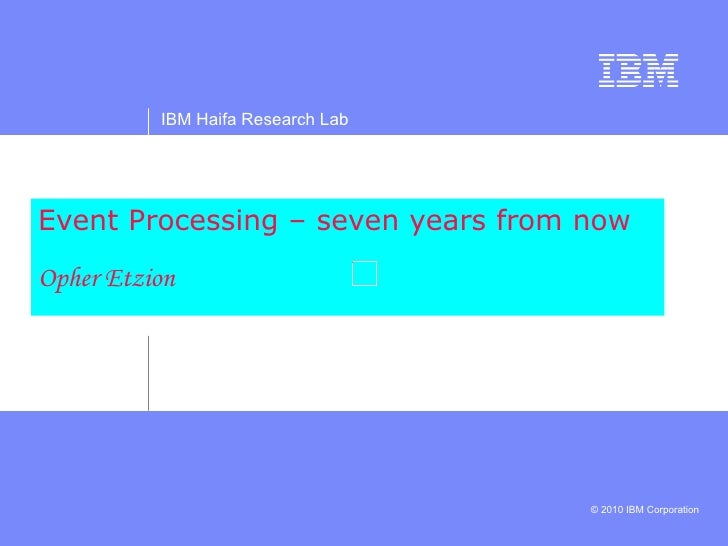 Event Processing – seven years from now Opher Etzion