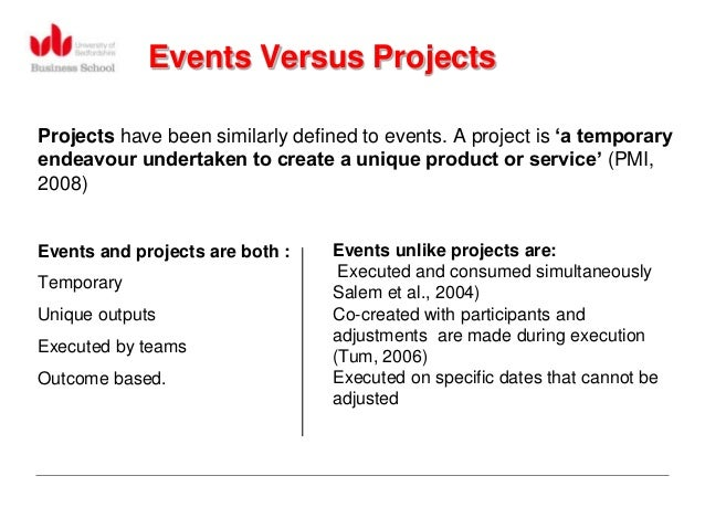 Events Versus ProjectsProjects have been similarly defined to events. A project is 'a temporaryendeavour undertaken to cre...