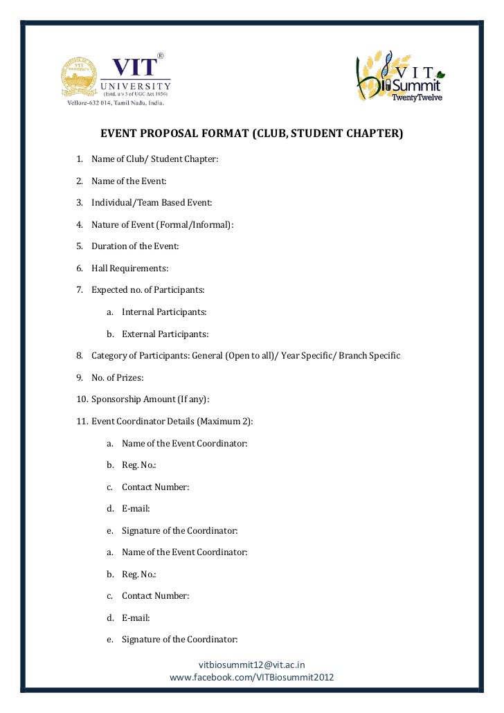 Event proposal formatclubstudentchapter – Proposal for an Event