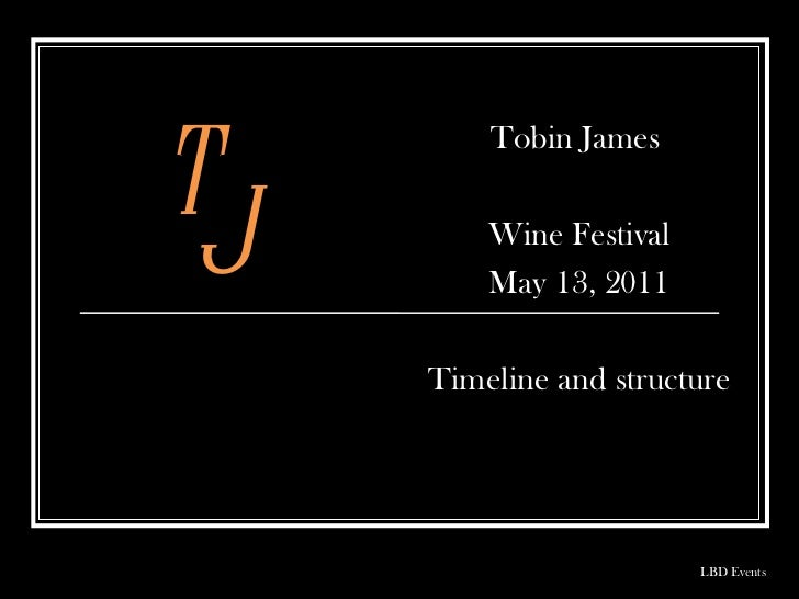 Tobin James  Wine Festival May 13, 2011 Timeline and structure LBD Events T J