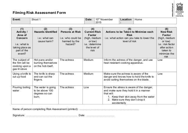 Crru Environmental Risk Assessment Form Pest Control News.  FilmingRiskAssessmentFormJpgCb