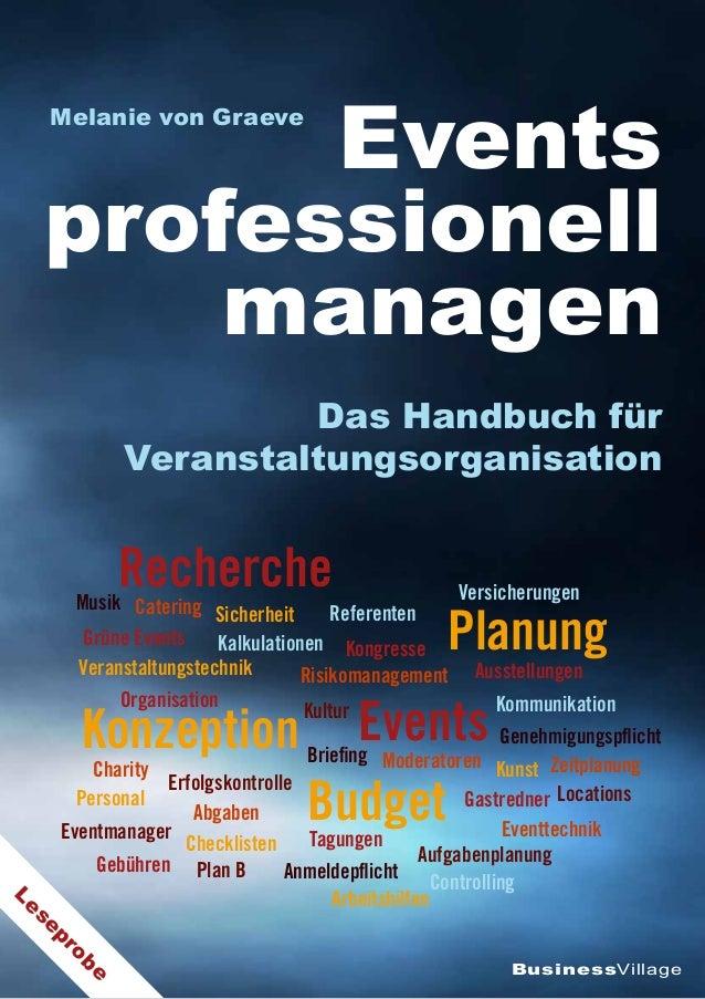 BusinessVillage Events professionell managen Das Handbuch für Veranstaltungsorganisation Melanie von Graeve Tagungen Grüne...