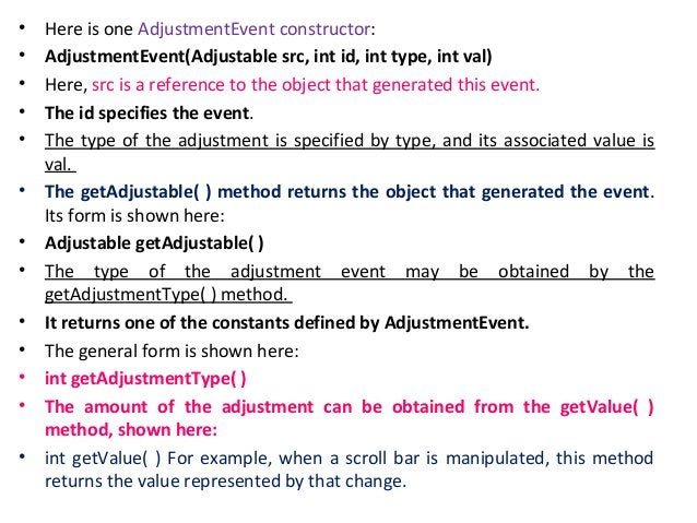 • For KEY_TYPED events, code will contain VK_UNDEFINED. • The KeyEvent class defines several methods, but probably the mos...