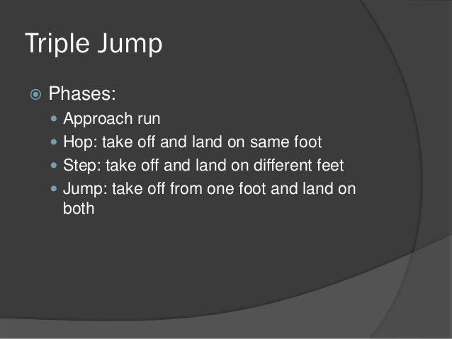 triple jump phase The triple jump is a very technical event speed and power are essential components, but to be a championship jumper athletes must have the proper technique.
