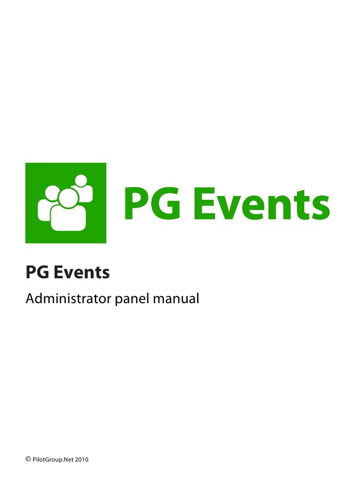 PG Events Administrator panel manual     © PilotGroup.Ne...