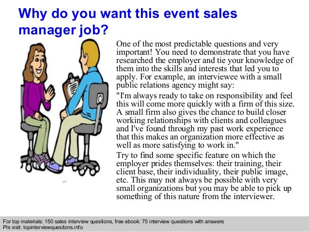 Event sales manager interview questions and answers