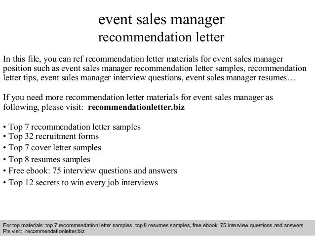 event sales manager recommendation letter