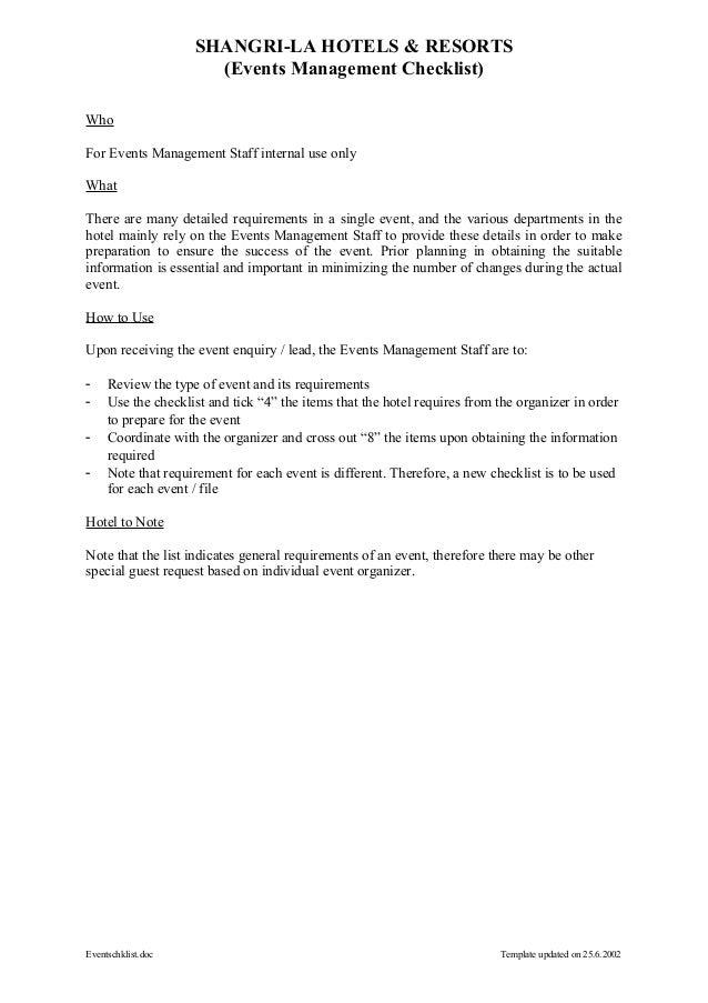 SHANGRI-LA HOTELS & RESORTS                      (Events Management Checklist)WhoFor Events Management Staff internal use ...