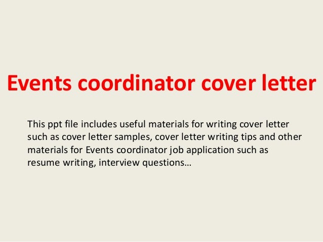 Events coordinator cover letter for International student coordinator cover letter