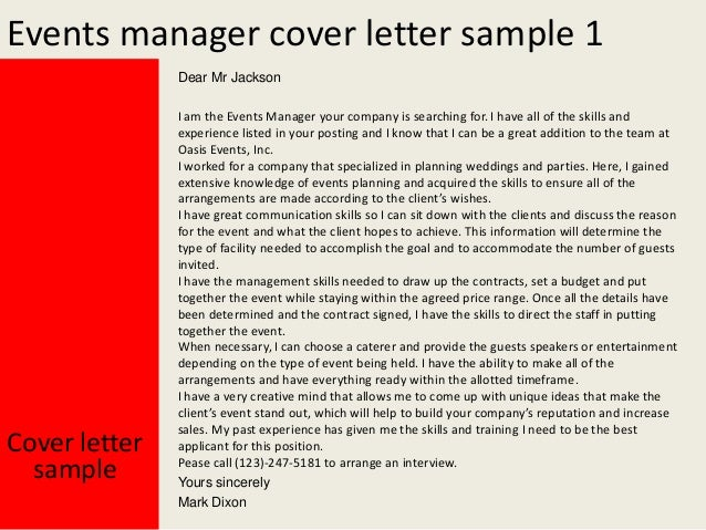 Exceptional Events Manager Cover Letter ...